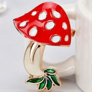 Cute Mushroom Enamel Brooch NWT